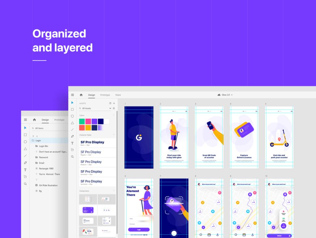滑板车租赁主题概念UI界面设计套件素材模板素材Glow App Ui Kit插图(4)