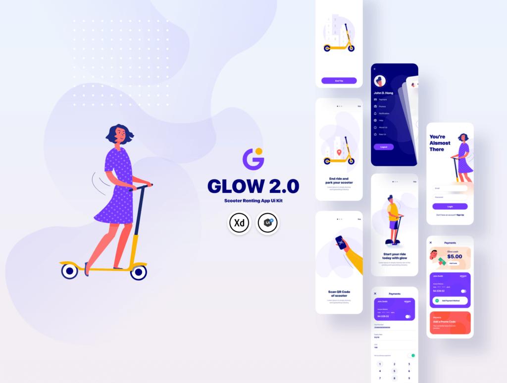 滑板车租赁主题概念UI界面设计套件素材模板素材Glow App Ui Kit插图(6)