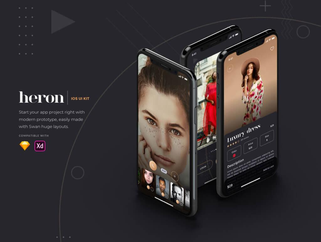 创意音乐概念设计UI界面素材模板Heron IOS UI Kit插图(1)