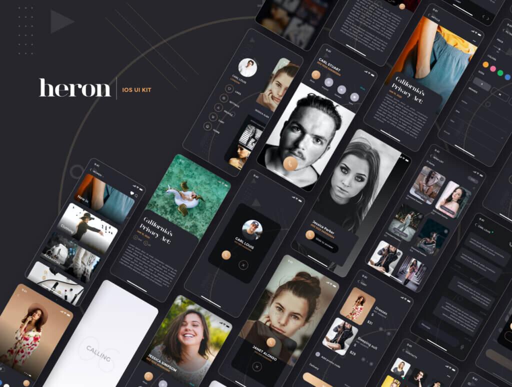 创意音乐概念设计UI界面素材模板Heron IOS UI Kit插图(4)