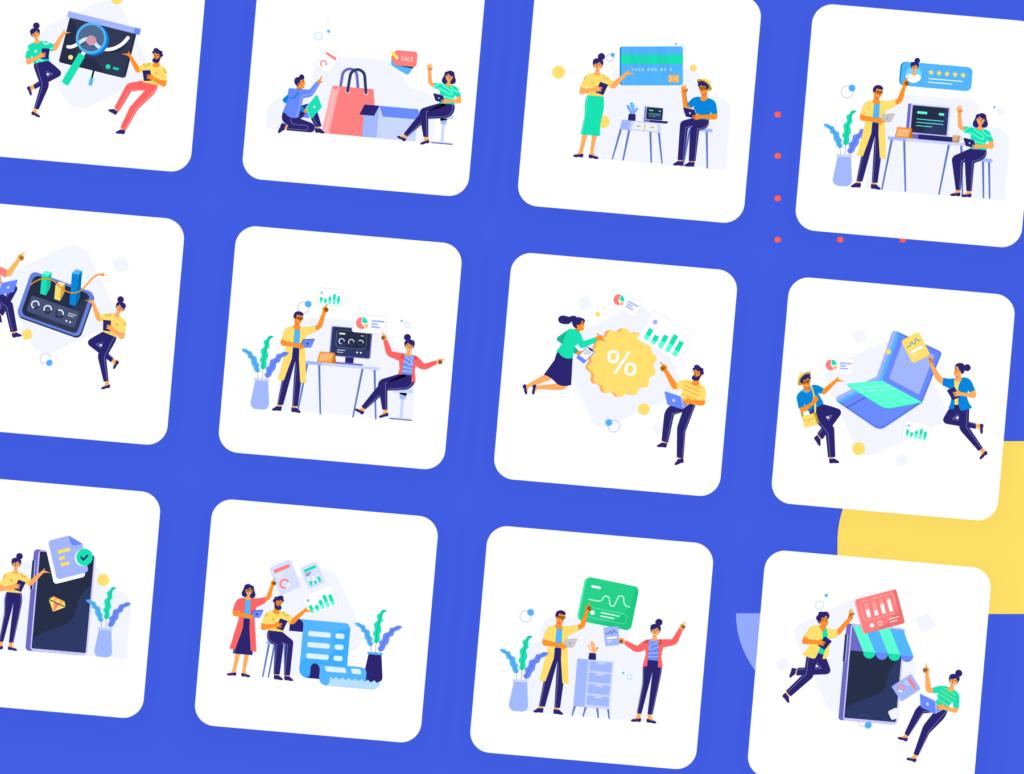 网站商业插画/企业互联网从业人员场景插图素材下载Jumeneng – Business Scenes Creator插图(2)