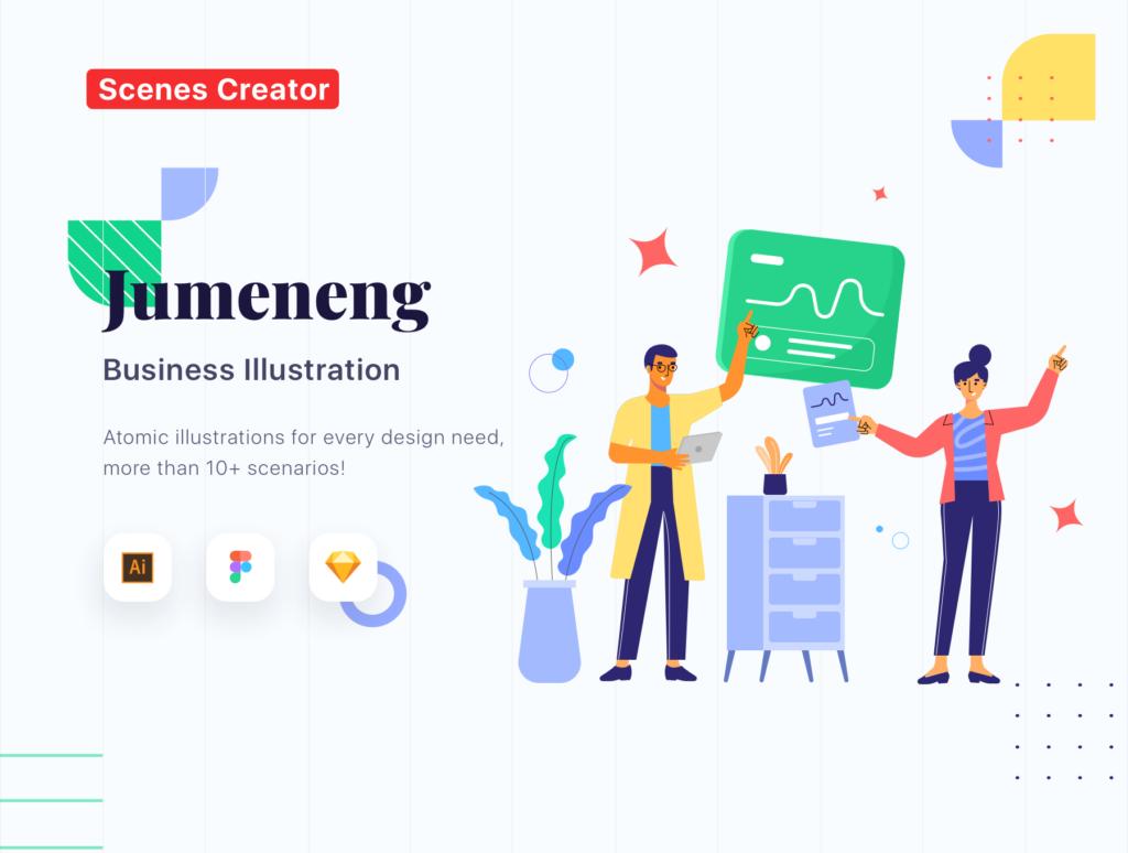 网站商业插画/企业互联网从业人员场景插图素材下载Jumeneng – Business Scenes Creator插图(1)