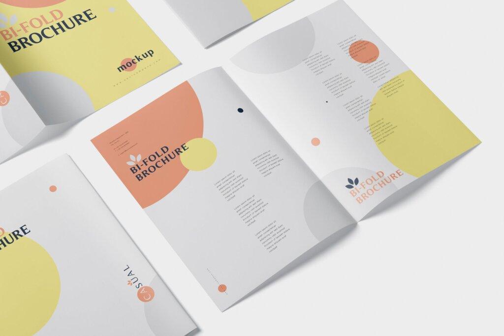 企业介绍A5双折页小册子模板素材样机下载A5 Bi-Fold Brochure Mock-Up Set插图