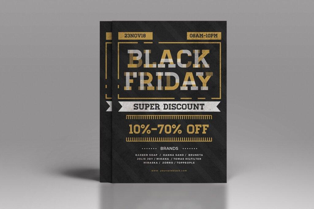黑色星期五海报宣传单模板素材Black Friday Flyer插图
