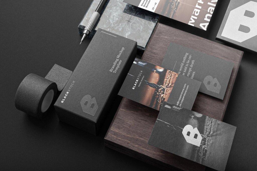 轻奢黑色高端品牌识别VIS系统办公模板素材样机下载Blackstone Branding Mockup Vol. 1插图