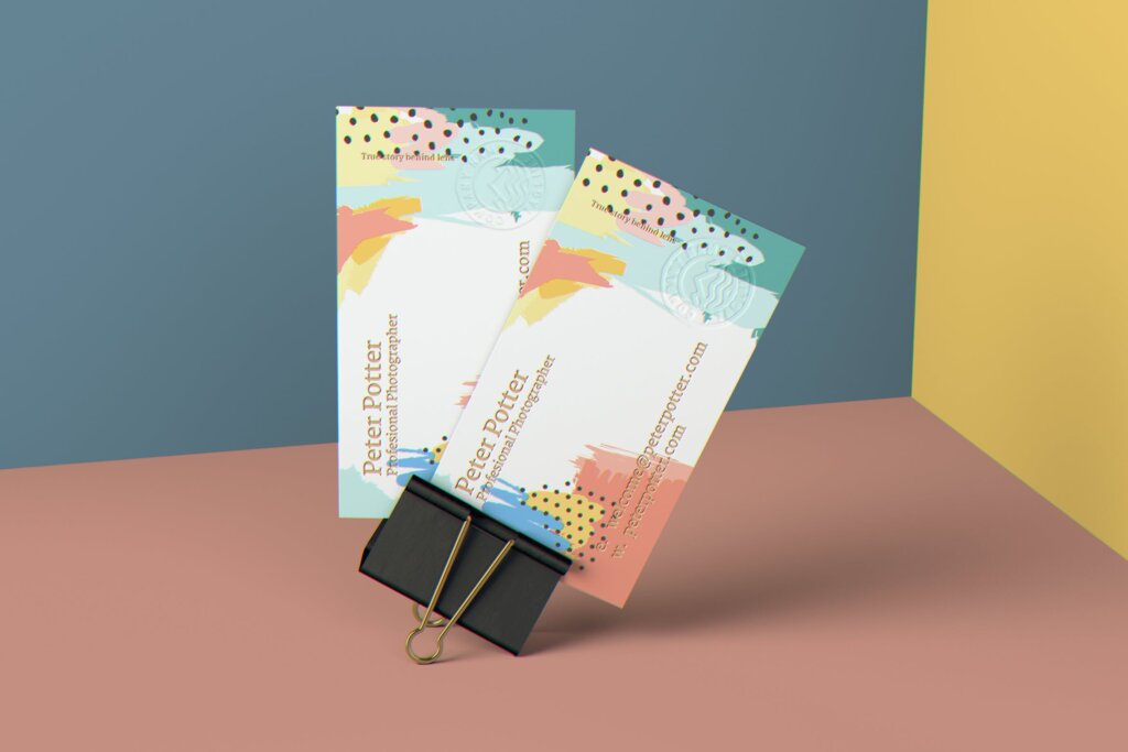 企业商务名片品牌识别系统办公文具样机素材下载Business Card MockUp v1插图