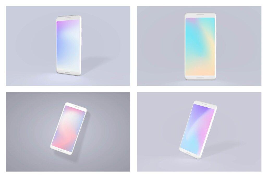 概念手机/谷歌手机多种透视角度素材样机下载Google Pixel Android Clay Mockup Bundle插图