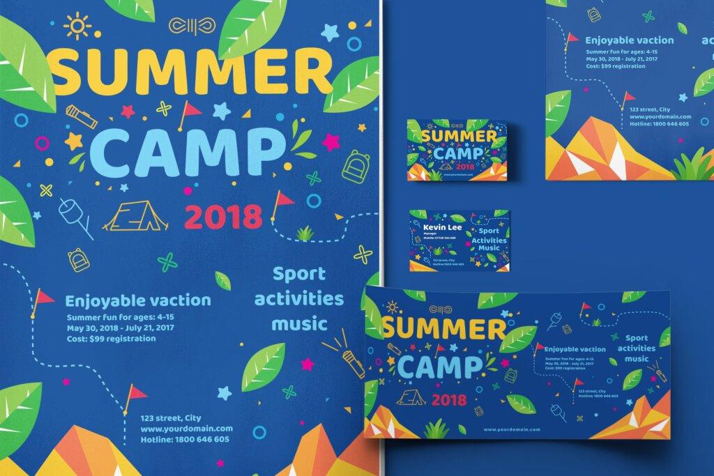 商业活动传单模板素材样机下载Kids Summer Camp Set Template WPLZAE插图