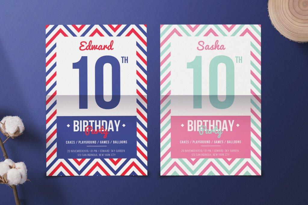 精致生日邀请海报传单海报模板素材下载Navy Birthday Invitation插图