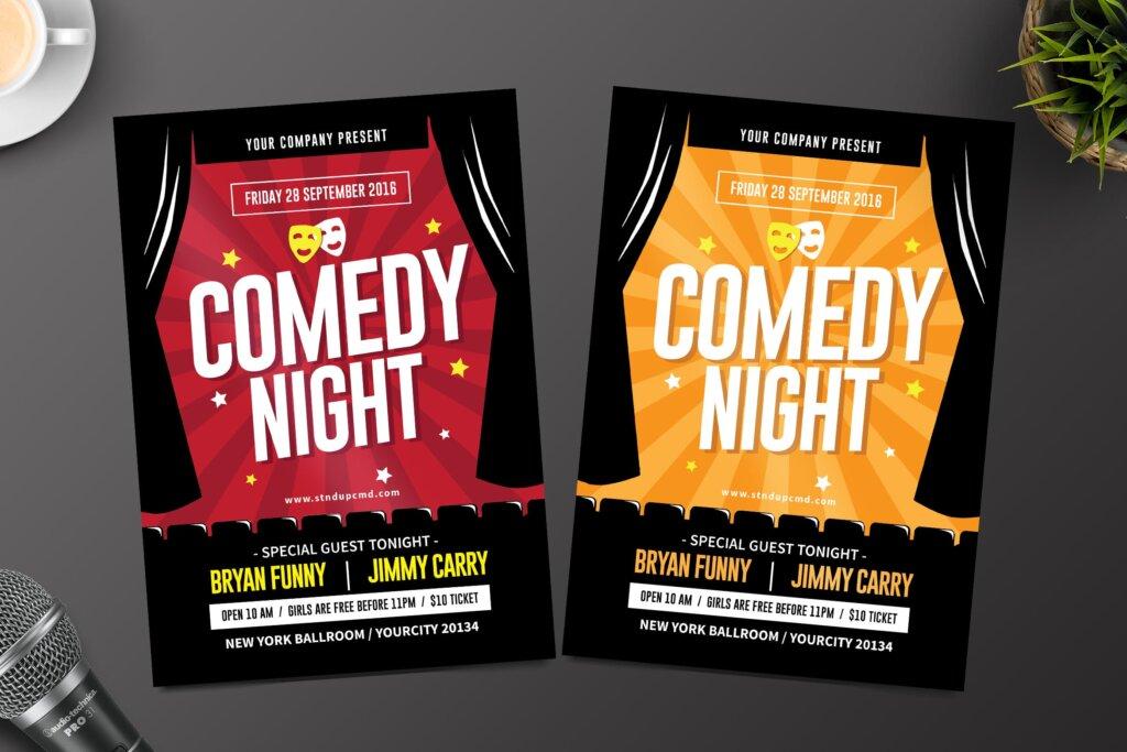 夜场剧院海报宣传单模板Night Comedy Flyer插图