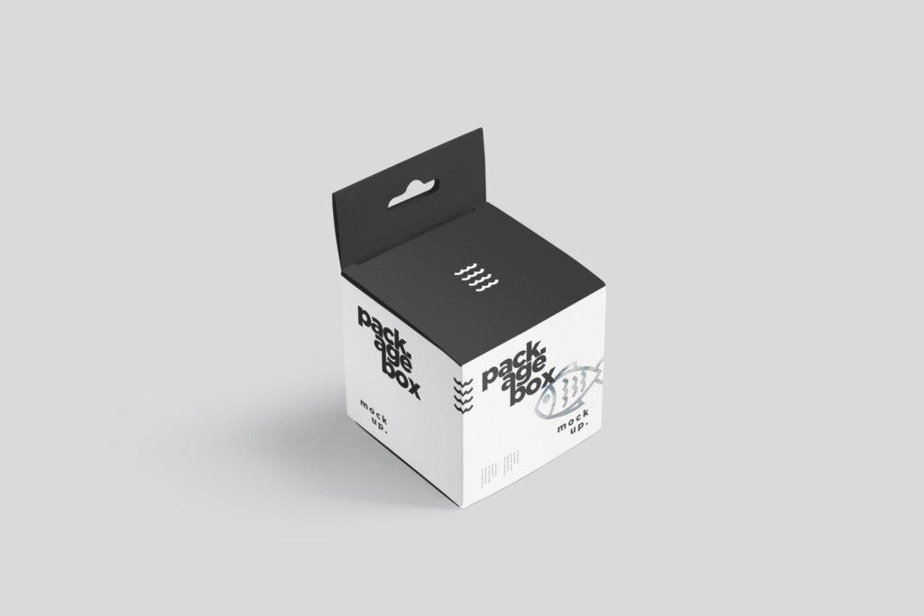 商品包装礼品盒模模型样机素材下载Package Box Mockup Set – Square With Hanger插图