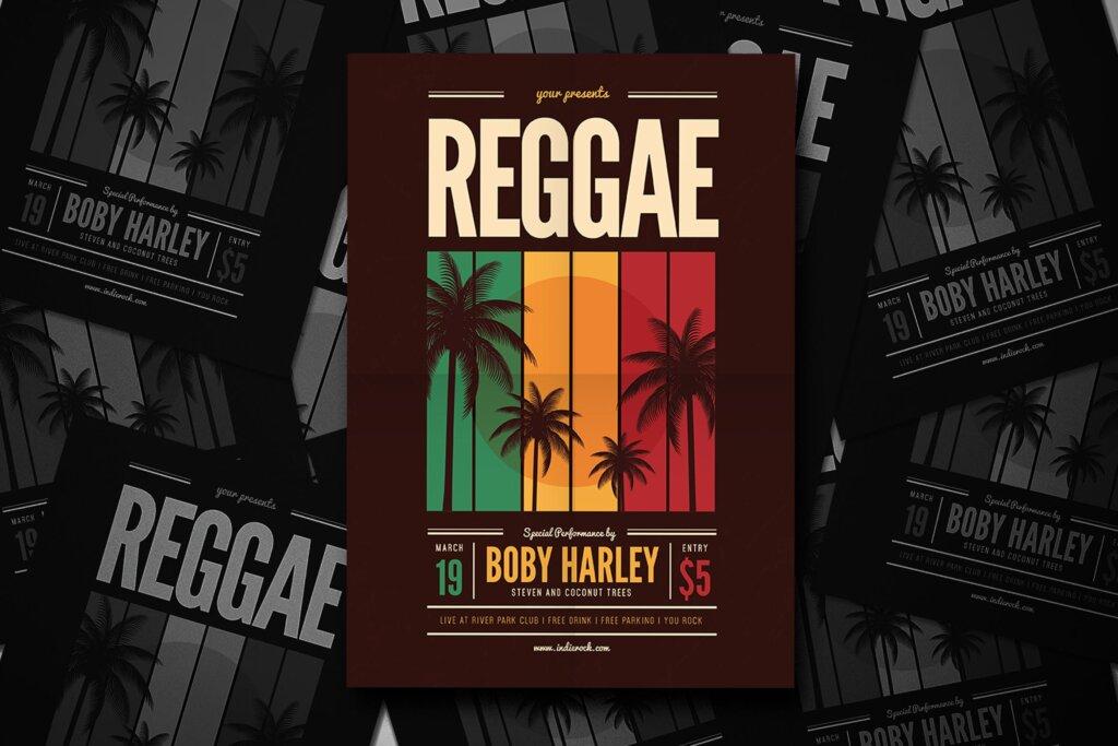 音乐派对传单海报素材模板Reggae Music Party Flyer插图