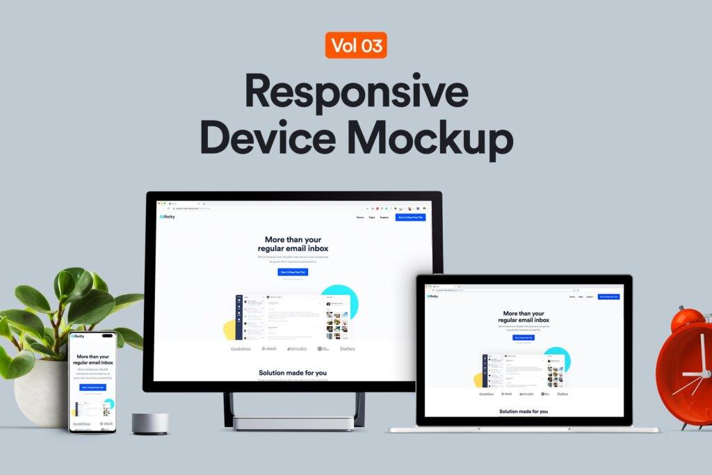 多种组合三星微软电子设备素材样机下载Responsive Device Mockup 03插图
