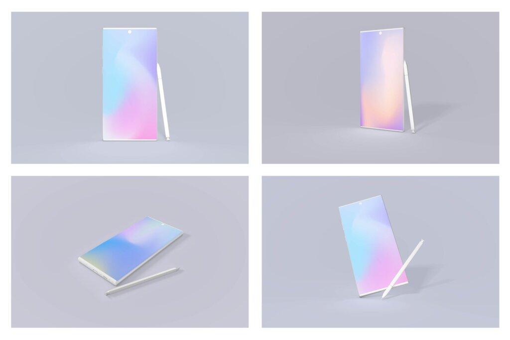 高级三星Note 10安卓样机素材模型下载Samsung Note 10 Android Mockup Bundle插图