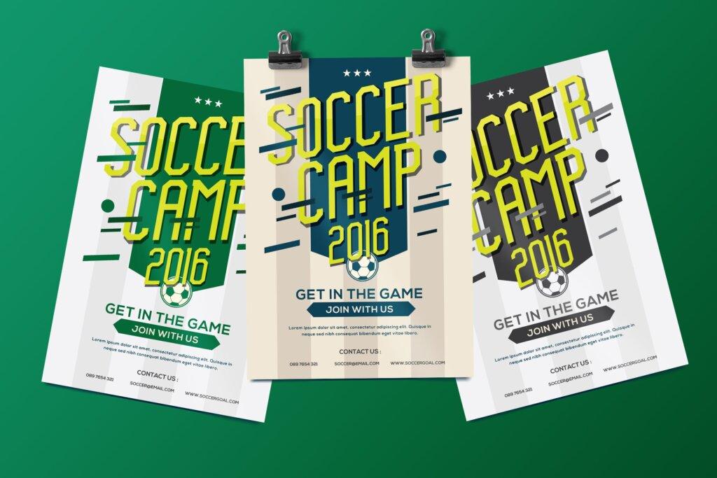 足球夏令营海报宣传单模板Soccer Camp Flyer QWMRUX插图
