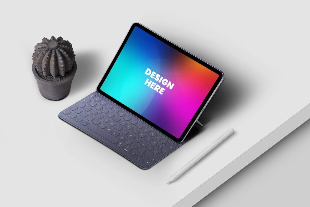 场景ipad pro平板电脑模型样机素材下载Tablet Mockup UVXKEW7插图
