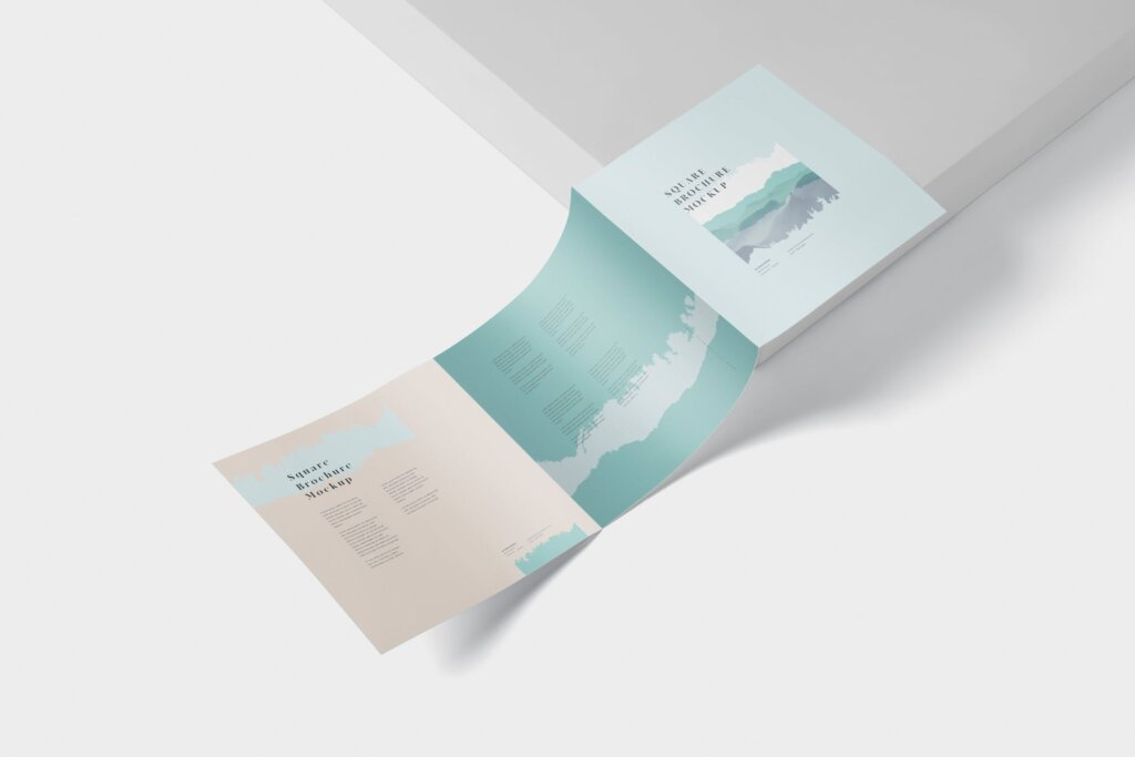 方形的三折小册子模型集样机素材下载Tri Fold Brochure Mock Up Square插图