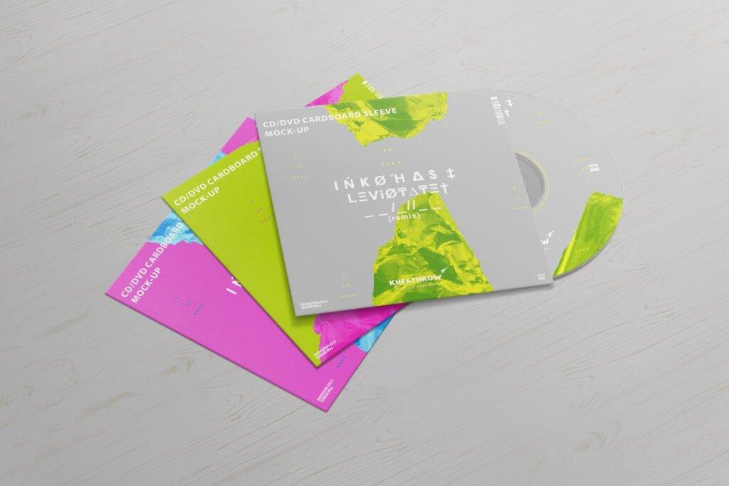 精致现代音乐唱片CD / DVDСard实物模型样机素材模型CD / DVD Сardstock Paper Sleeve Mock Ups Vol 1插图(9)
