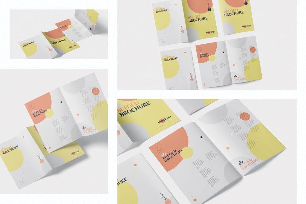 企业介绍A5双折页小册子模板素材样机下载A5 Bi-Fold Brochure Mock-Up Set插图(1)
