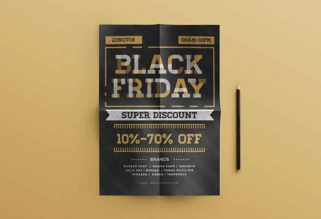 黑色星期五海报宣传单模板素材Black Friday Flyer插图(1)