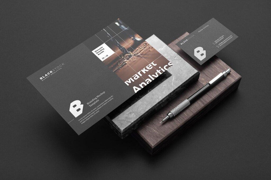 轻奢黑色高端品牌识别VIS系统办公模板素材样机下载Blackstone Branding Mockup Vol. 1插图(1)