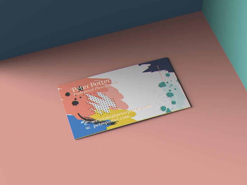 企业商务名片品牌识别系统办公文具样机素材下载Business Card MockUp v1插图(1)