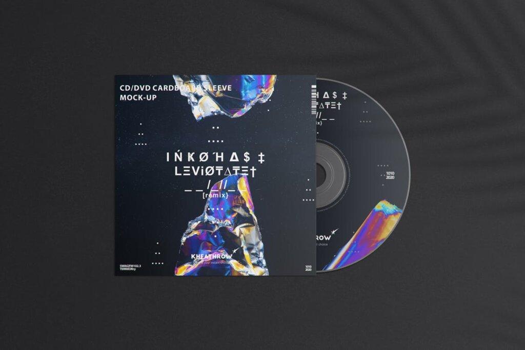 精致现代音乐唱片CD / DVDСard实物模型样机素材模型CD / DVD Сardstock Paper Sleeve Mock Ups Vol 1插图(1)