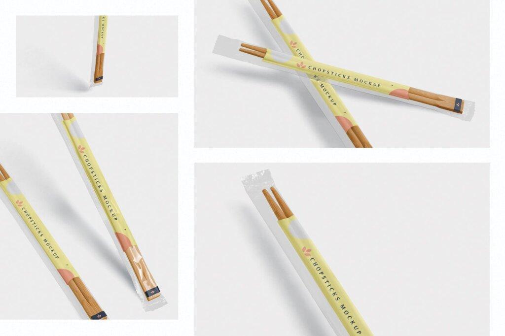 精致木质纹理高端品牌筷子样机素材下载Chopsticks Mockup in Transparent Packaging插图(1)
