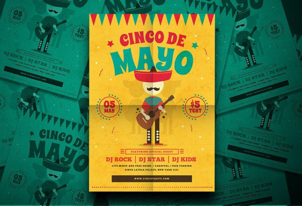 传统节日海报传单模板素材下载Cinco De Mayo Flyer YU5TBU插图(1)