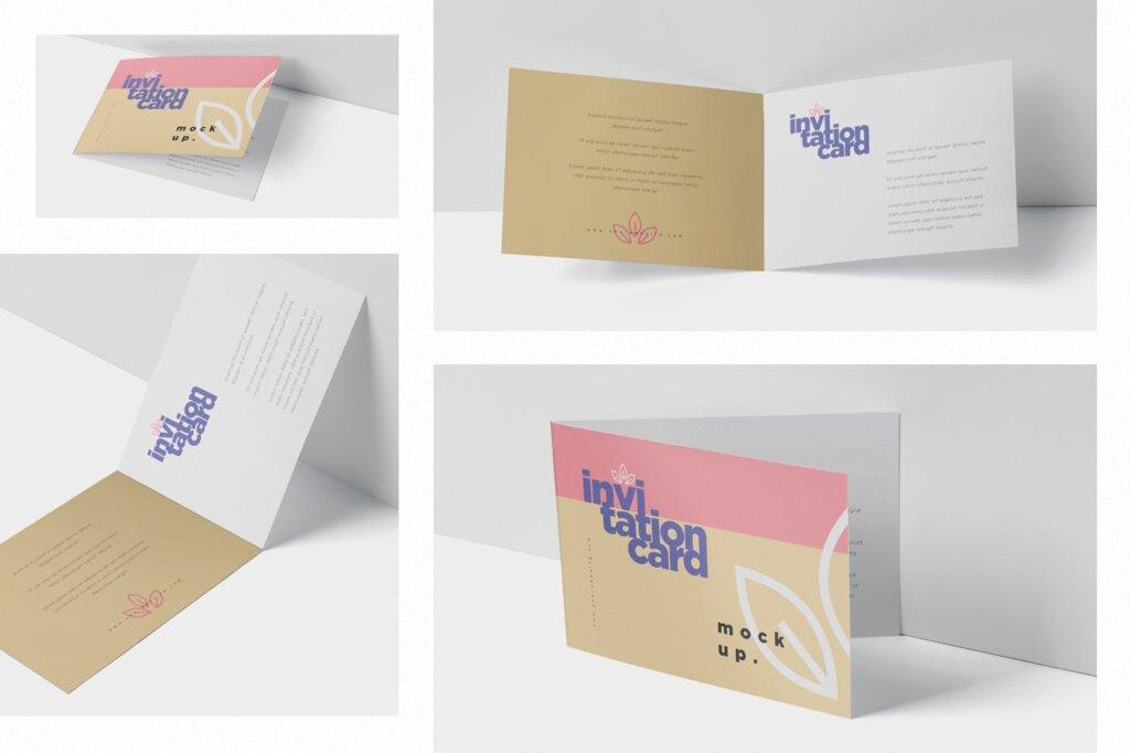 折页邀请函样机素材样机下载Invitation Card Mock Up Set插图(1)