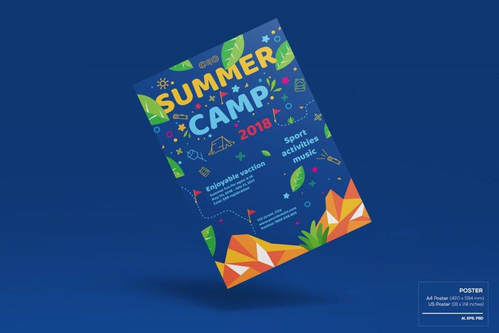 商业活动传单模板素材样机下载Kids Summer Camp Set Template WPLZAE插图(1)