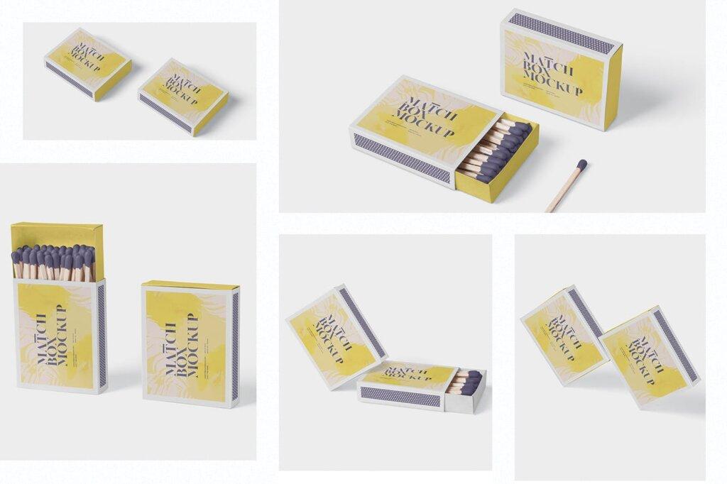 精致文艺高级火柴盒模型样机素材Match Box Mock Up Set插图(1)