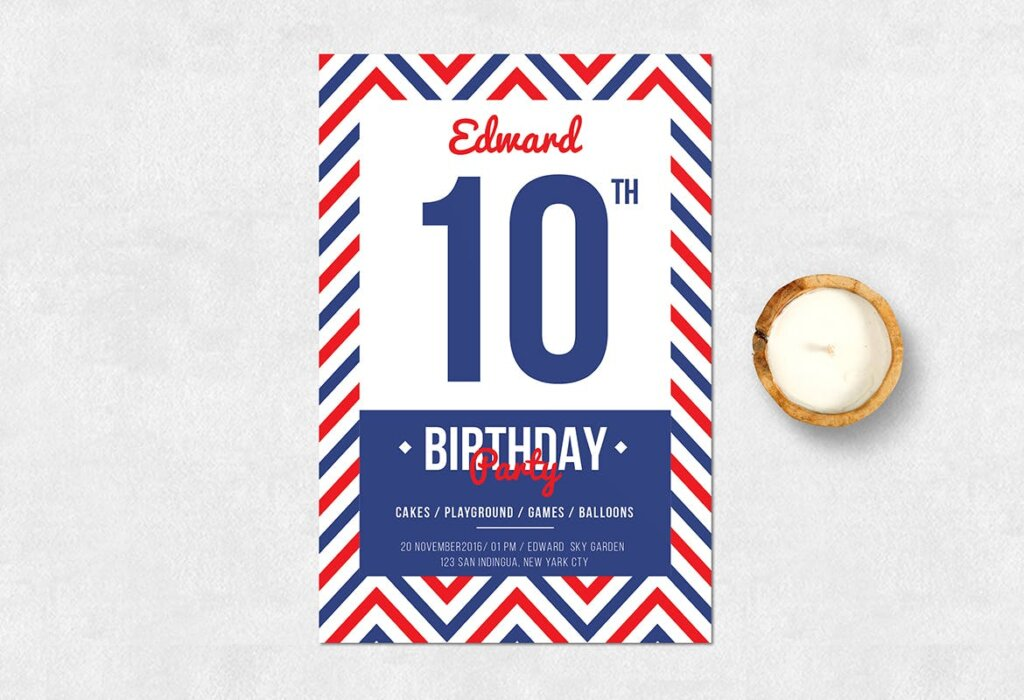 精致生日邀请海报传单海报模板素材下载Navy Birthday Invitation插图(1)