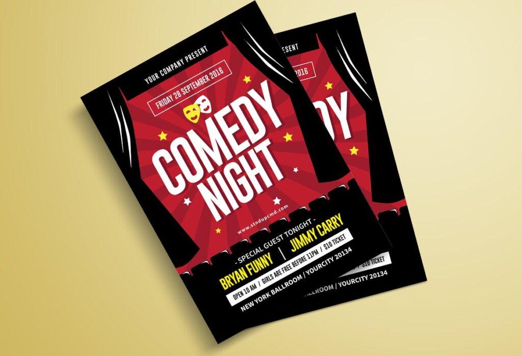 夜场剧院海报宣传单模板Night Comedy Flyer插图(1)