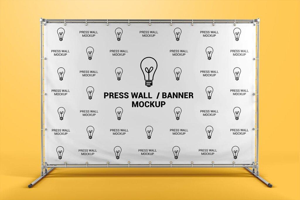 横幅广告模板素材样机下载Press Wall / Stand Banner Mockup插图(1)