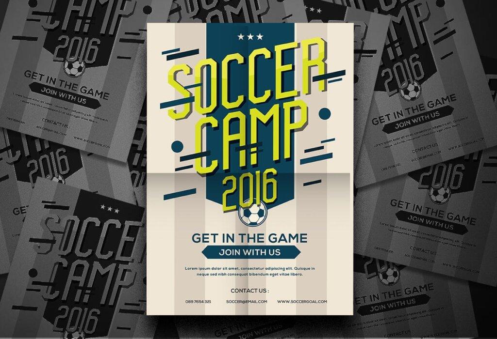足球夏令营海报宣传单模板Soccer Camp Flyer QWMRUX插图(1)