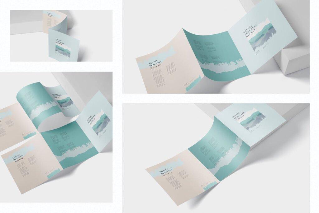 方形的三折小册子模型集样机素材下载Tri Fold Brochure Mock Up Square插图(1)