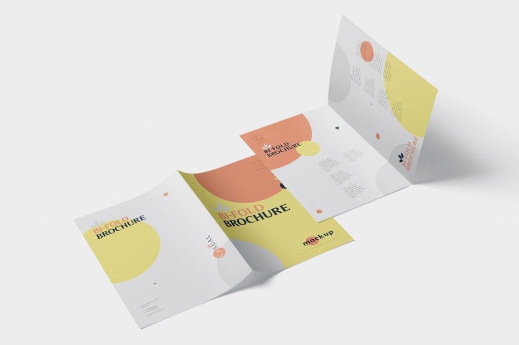 企业介绍A5双折页小册子模板素材样机下载A5 Bi-Fold Brochure Mock-Up Set插图(2)