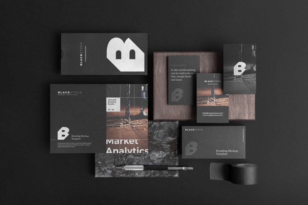 轻奢黑色高端品牌识别VIS系统办公模板素材样机下载Blackstone Branding Mockup Vol. 1插图(2)