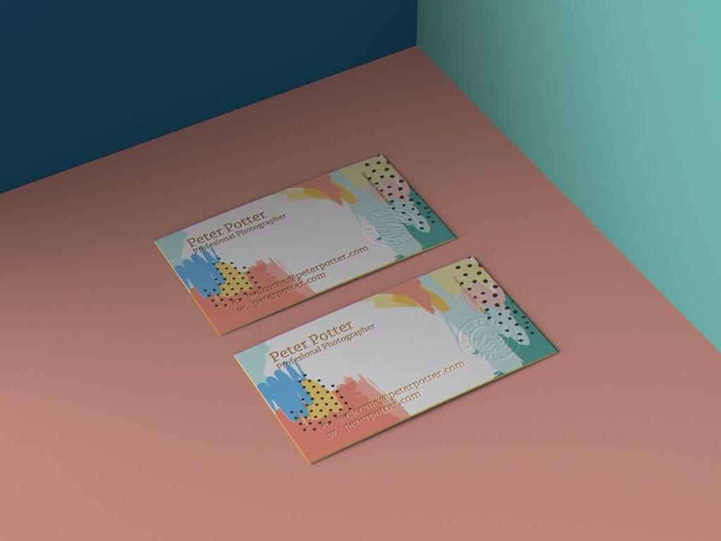 企业商务名片品牌识别系统办公文具样机素材下载Business Card MockUp v1插图(7)
