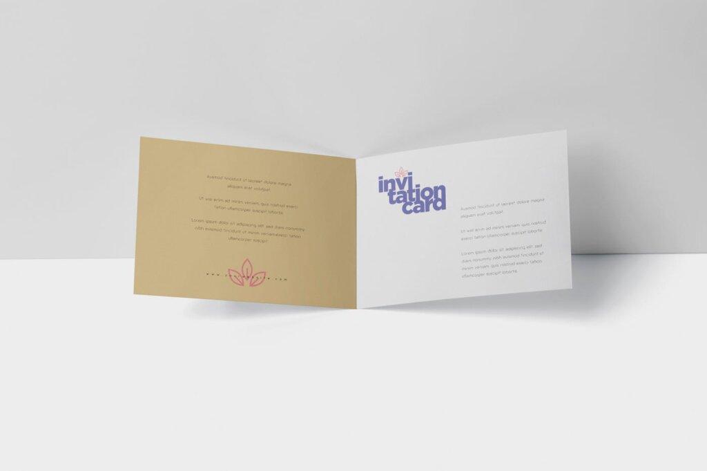 折页邀请函样机素材样机下载Invitation Card Mock Up Set插图(2)