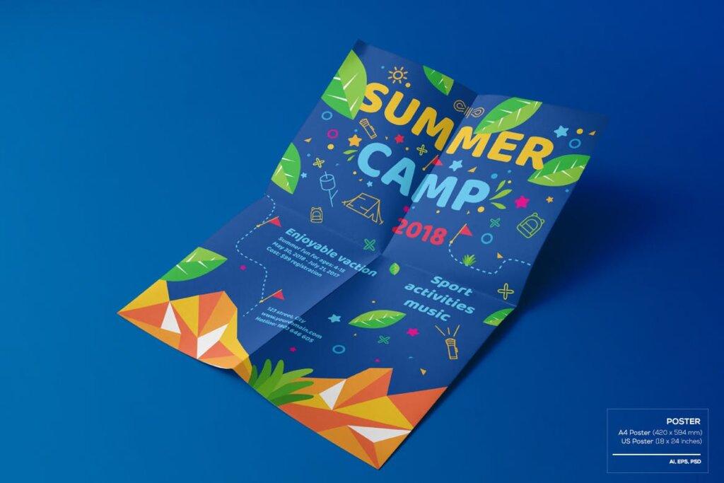 商业活动传单模板素材样机下载Kids Summer Camp Set Template WPLZAE插图(2)