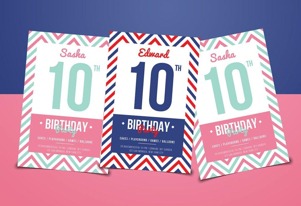 精致生日邀请海报传单海报模板素材下载Navy Birthday Invitation插图(2)