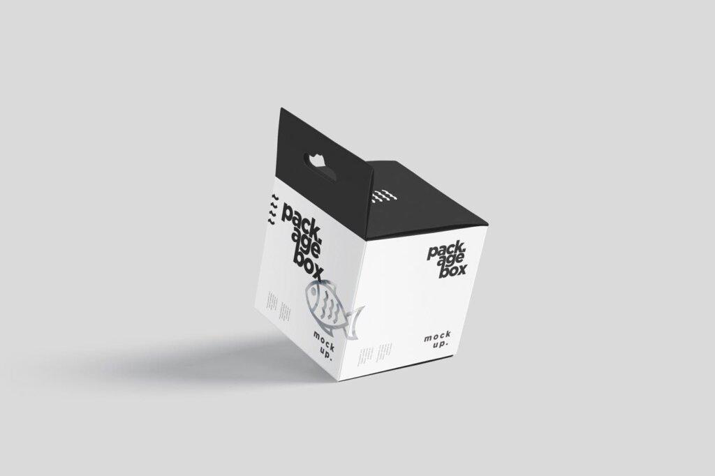 商品包装礼品盒模模型样机素材下载Package Box Mockup Set – Square With Hanger插图(1)