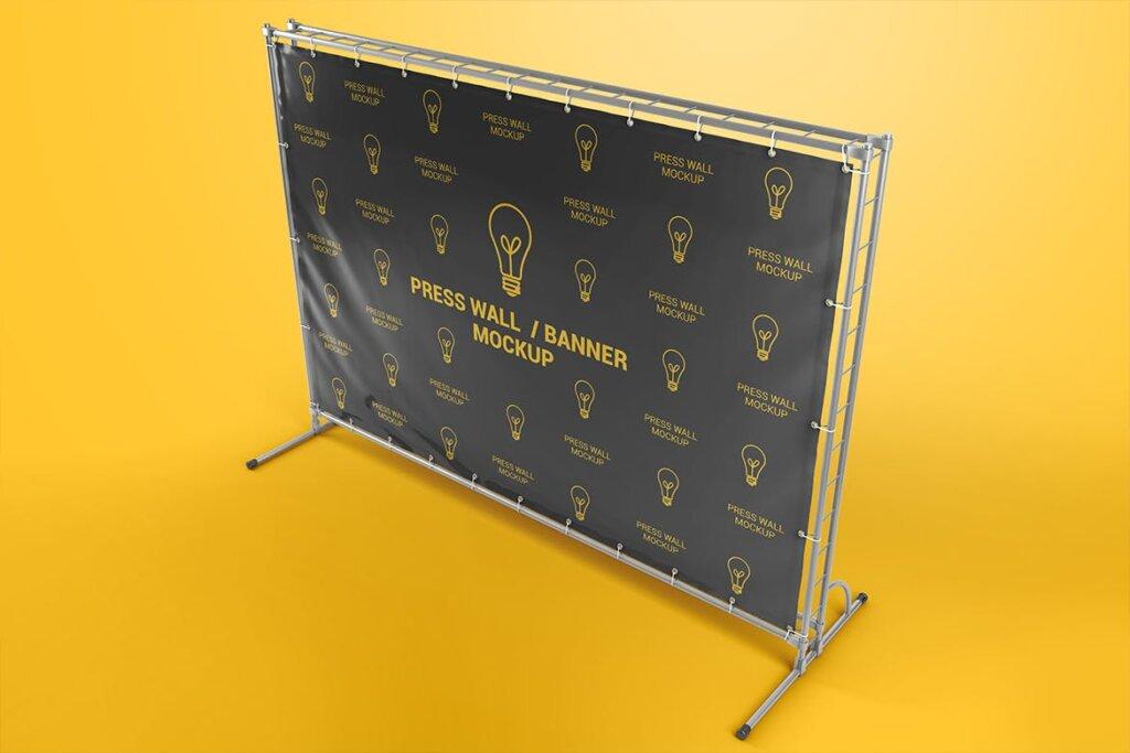 横幅广告模板素材样机下载Press Wall / Stand Banner Mockup插图(2)