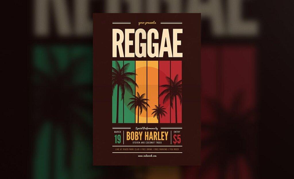 音乐派对传单海报素材模板Reggae Music Party Flyer插图(2)