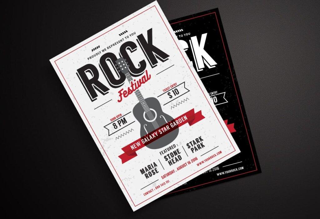 冰淇淋海报宣传单模板Rock Music Flyer HRY64V插图(2)