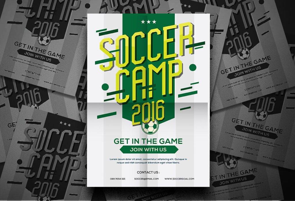 足球夏令营海报宣传单模板Soccer Camp Flyer QWMRUX插图(2)