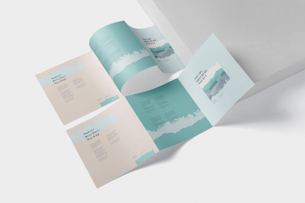 方形的三折小册子模型集样机素材下载Tri Fold Brochure Mock Up Square插图(2)