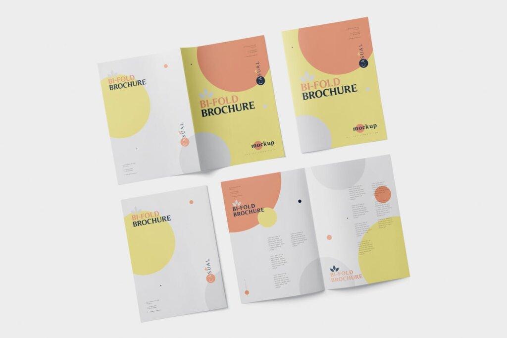 企业介绍A5双折页小册子模板素材样机下载A5 Bi-Fold Brochure Mock-Up Set插图(3)